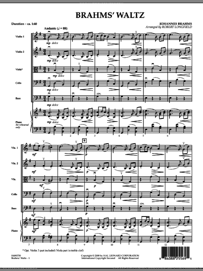 Brahms' Waltz sheet music for orchestra (full score) by Robert Longfield