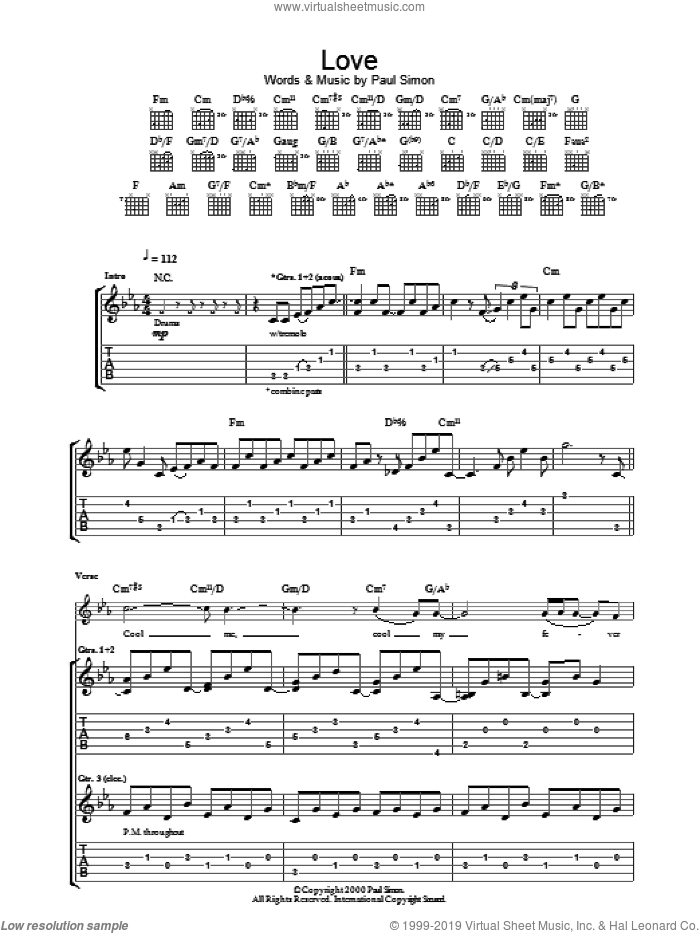 Love sheet music for guitar (tablature) by Paul Simon