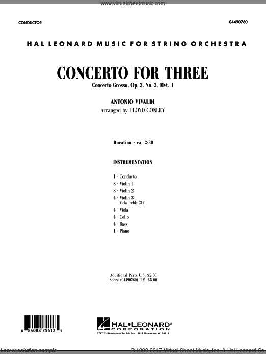 Concerto for Three (COMPLETE) sheet music for orchestra by Antonio Vivaldi