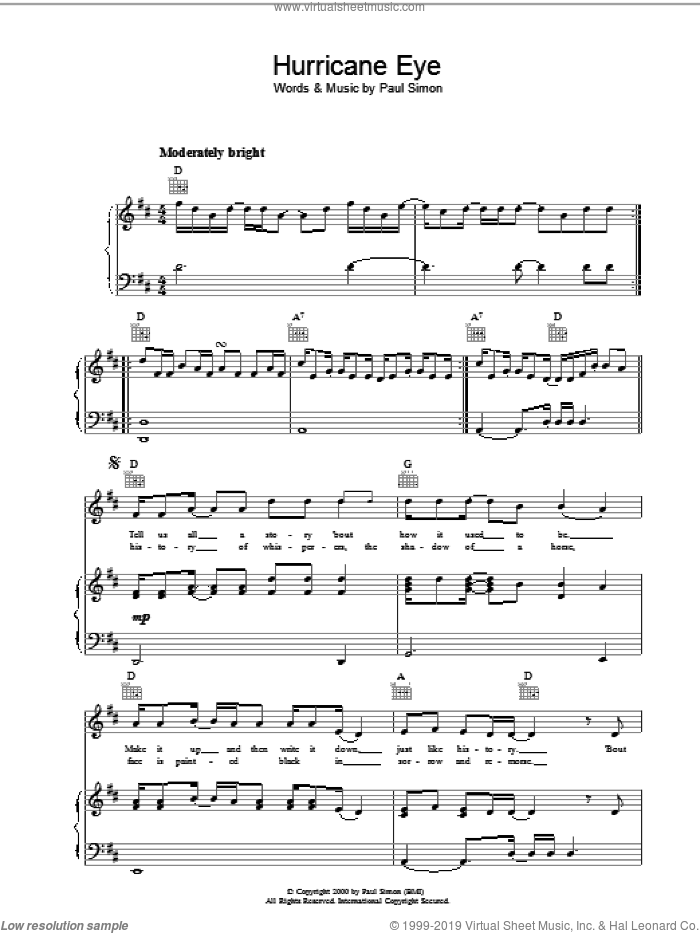 Hurricane Eye sheet music for voice, piano or guitar by Paul Simon, intermediate voice, piano or guitar. Score Image Preview.