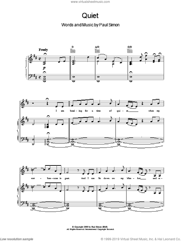 Quiet sheet music for voice, piano or guitar by Paul Simon, intermediate skill level