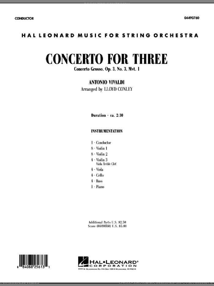 Concerto for Three (COMPLETE) sheet music for orchestra by Antonio Vivaldi and Lloyd Conley, classical score, intermediate. Score Image Preview.