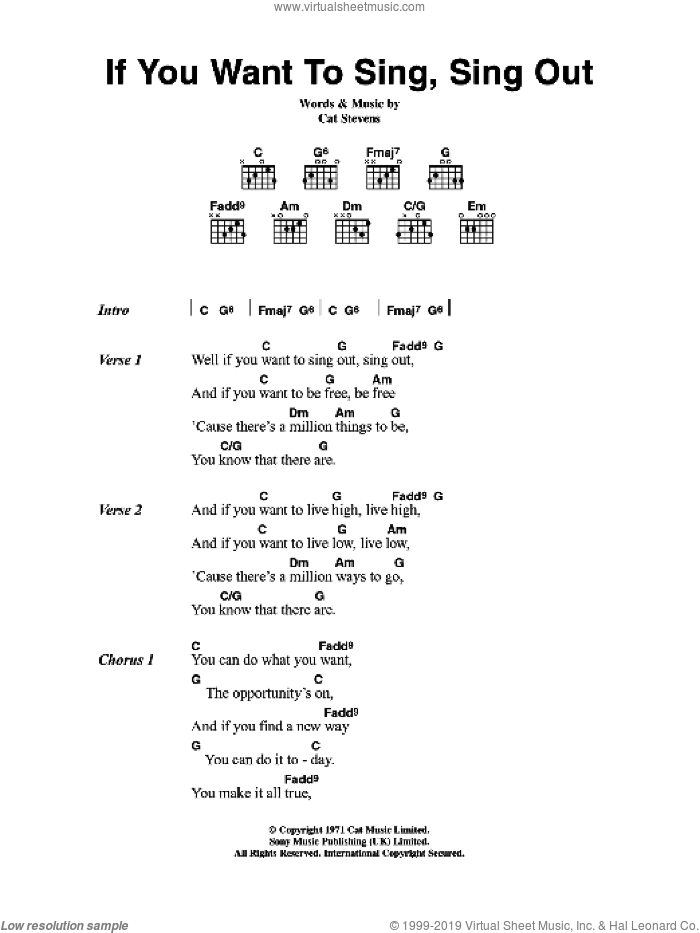 If You Want To Sing Out, Sing Out sheet music for guitar (chords) by Cat Stevens