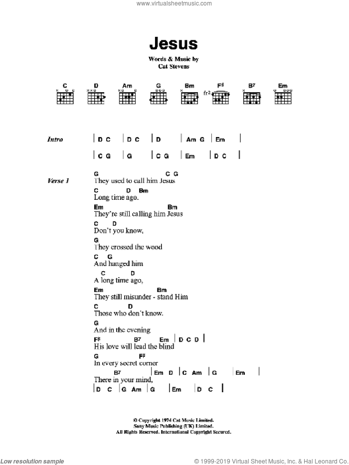Jesus sheet music for guitar (chords) by Cat Stevens, intermediate guitar (chords). Score Image Preview.