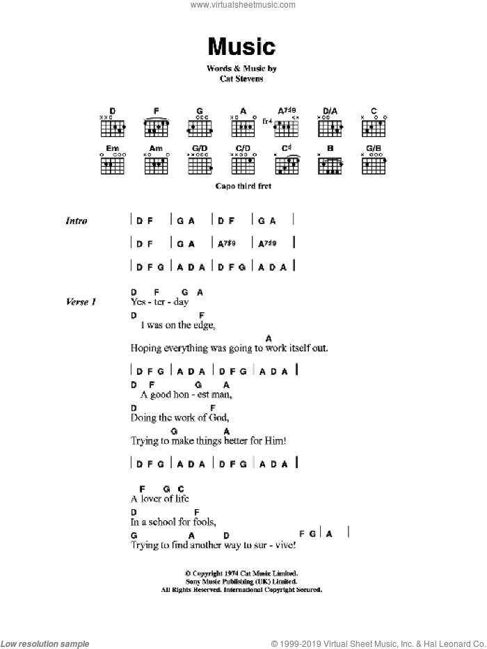 Music sheet music for guitar (chords) by Cat Stevens, intermediate skill level