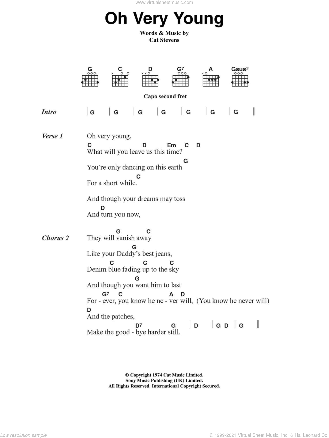 Oh Very Young sheet music for guitar (chords, lyrics, melody) by Cat Stevens