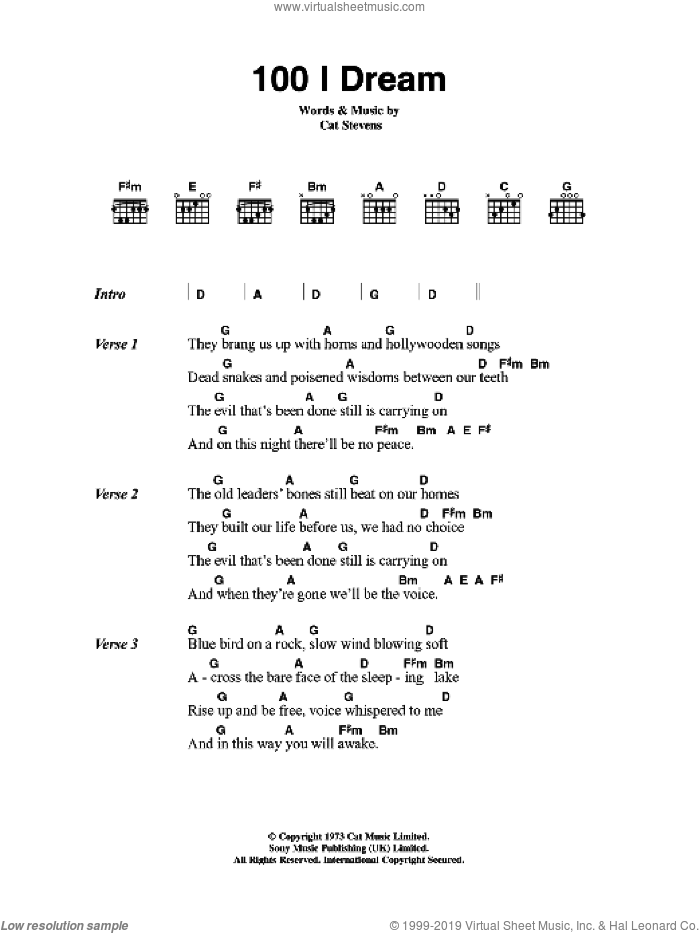 100 I Dream sheet music for guitar (chords) by Cat Stevens. Score Image Preview.