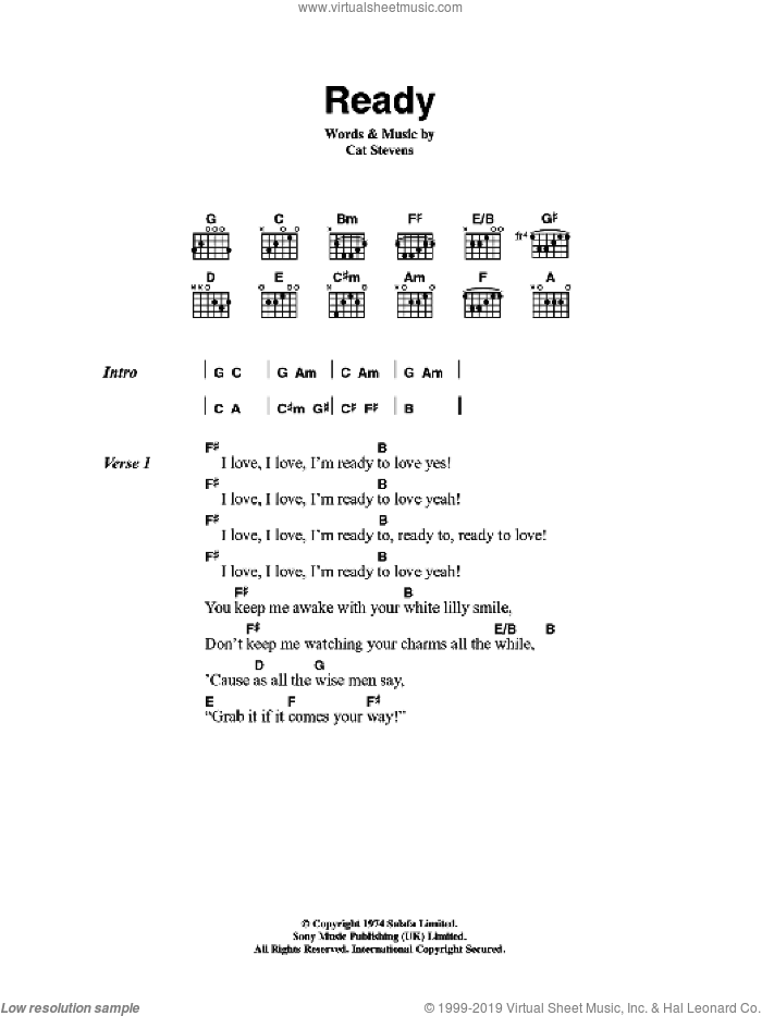Ready sheet music for guitar (chords) by Cat Stevens