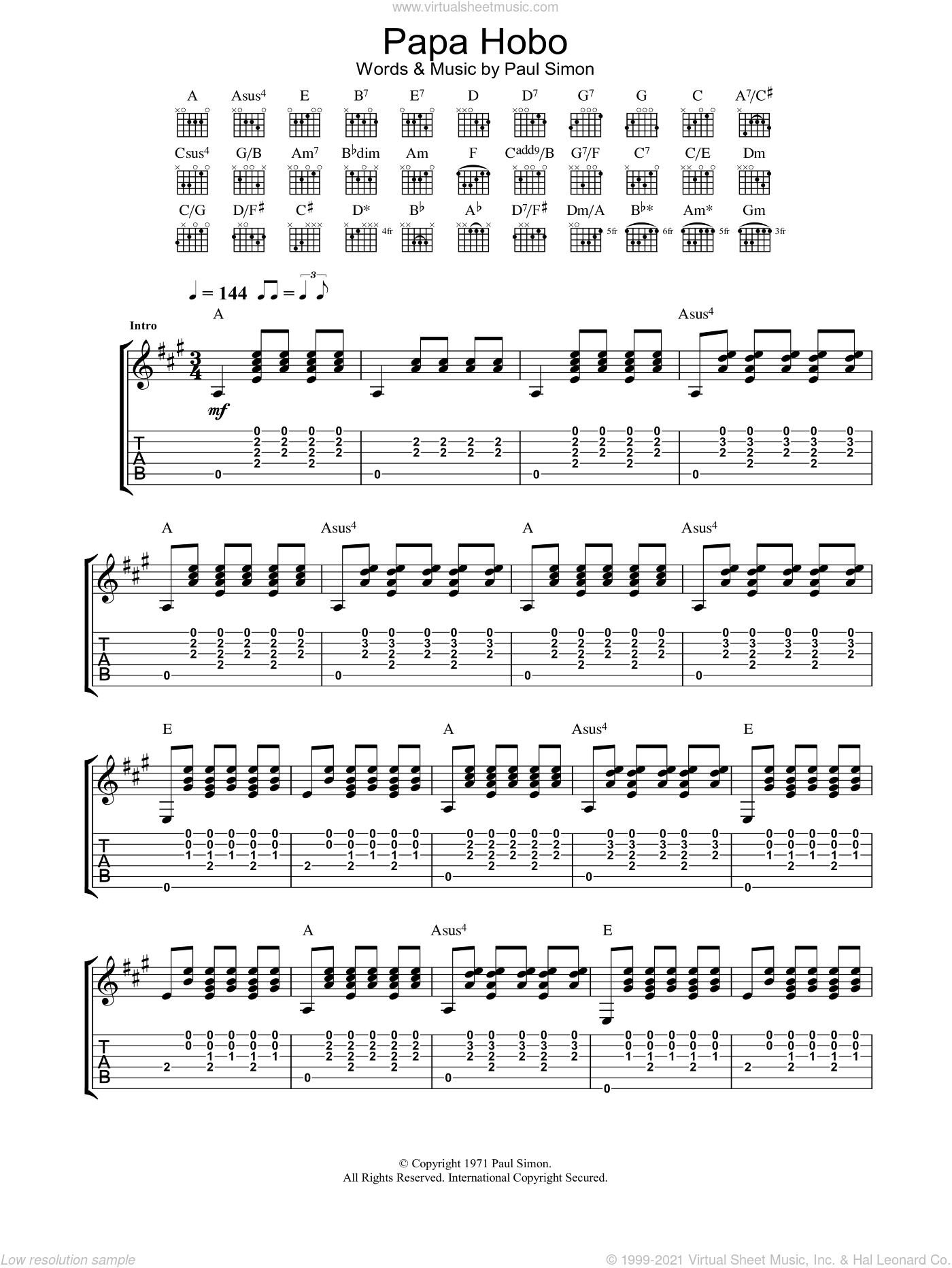 Papa Hobo sheet music for guitar (tablature) by Paul Simon, intermediate skill level