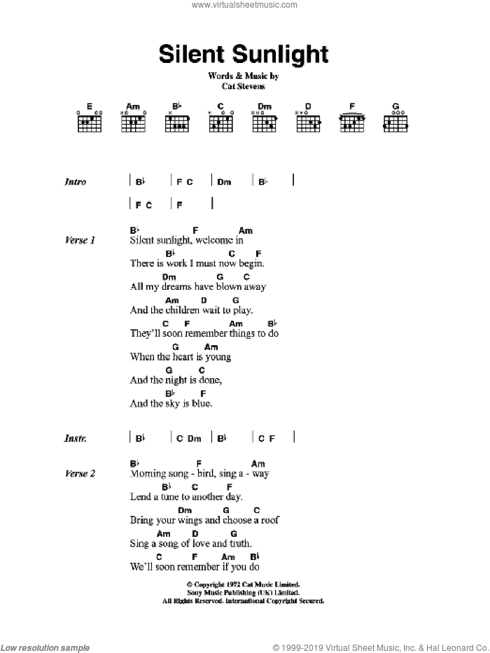 Silent Sunlight sheet music for guitar (chords) by Cat Stevens, intermediate guitar (chords). Score Image Preview.