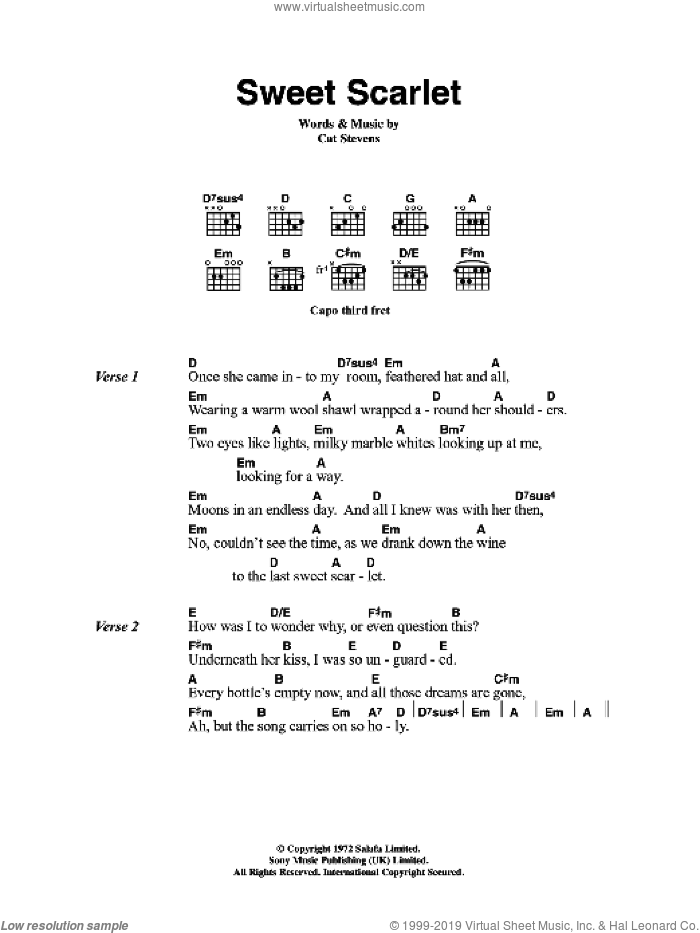 Sweet Scarlet sheet music for guitar (chords) by Cat Stevens, intermediate guitar (chords). Score Image Preview.