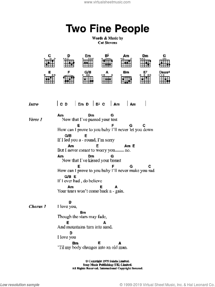 Two Fine People sheet music for guitar (chords) by Cat Stevens. Score Image Preview.