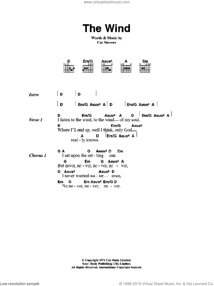 The Wind sheet music for guitar (chords) by Cat Stevens, intermediate skill level