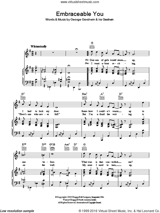 Embraceable You sheet music for voice, piano or guitar by Ira Gershwin and George Gershwin