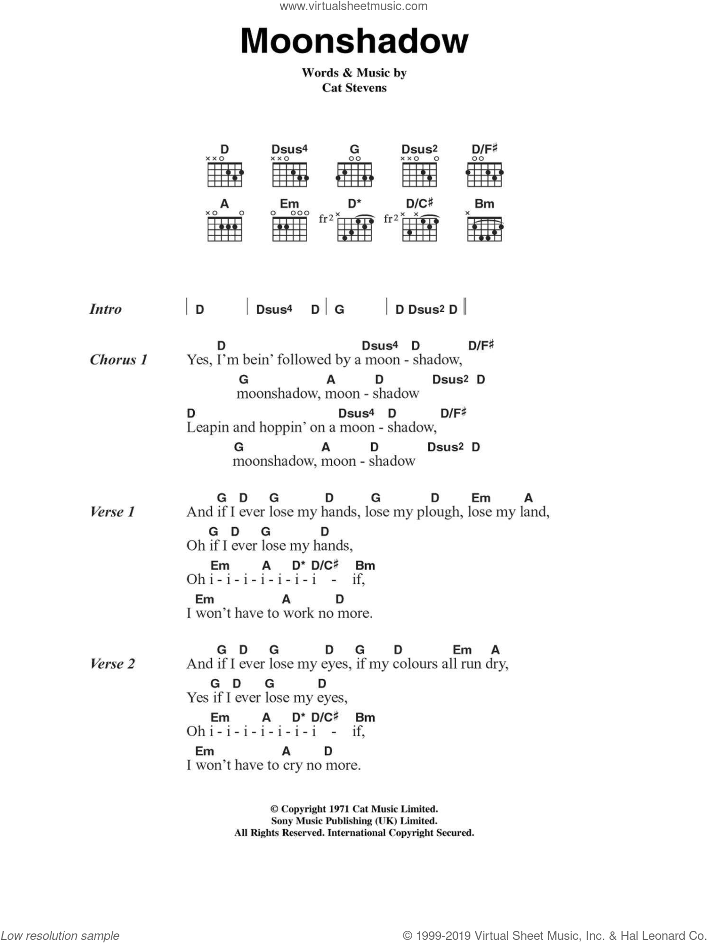 Moonshadow sheet music for guitar (chords) by Cat Stevens