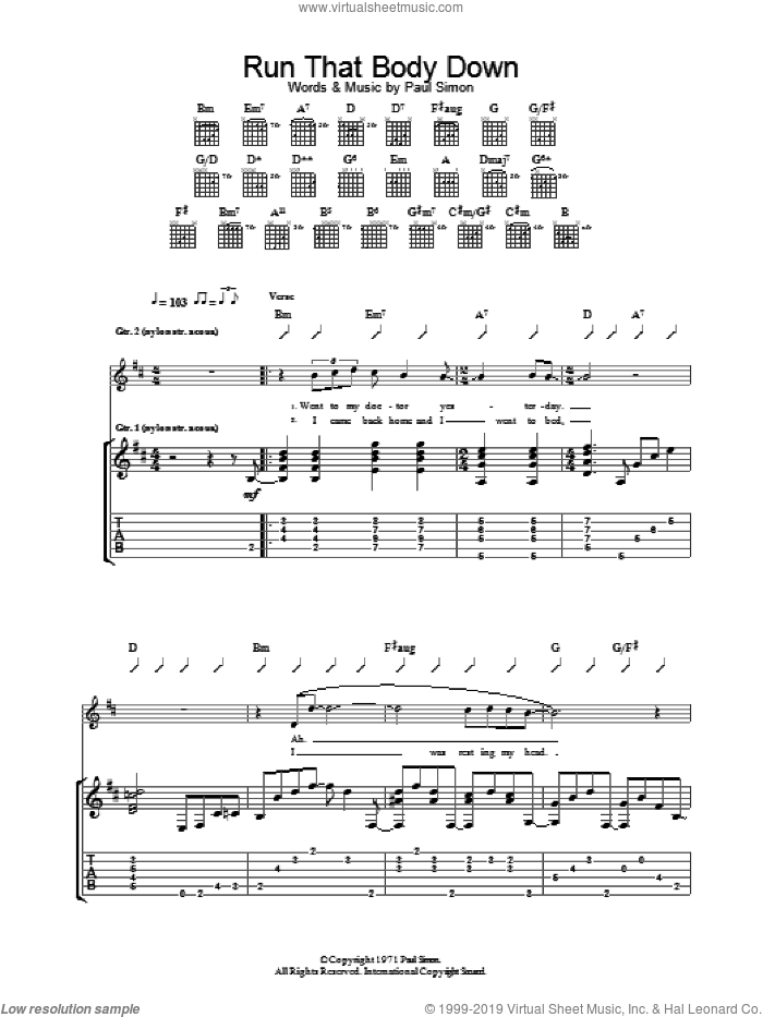 Run That Body Down sheet music for guitar (tablature) by Paul Simon. Score Image Preview.