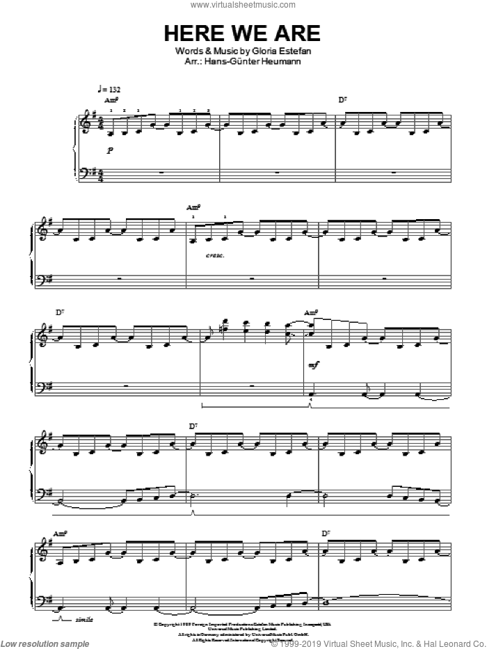 Here We Are sheet music for piano solo by Gloria Estefan, easy skill level