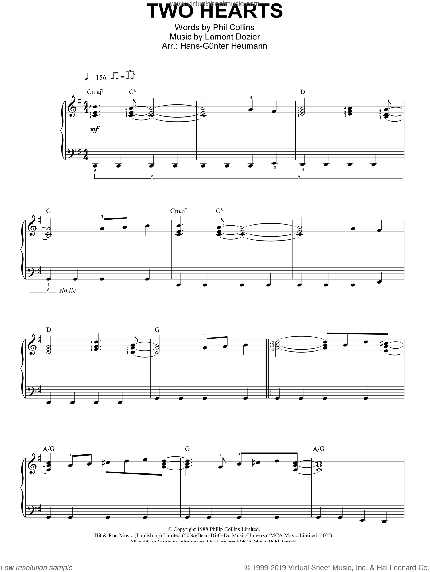 Two Hearts sheet music for piano solo by Phil Collins and Lamont Dozier, easy skill level