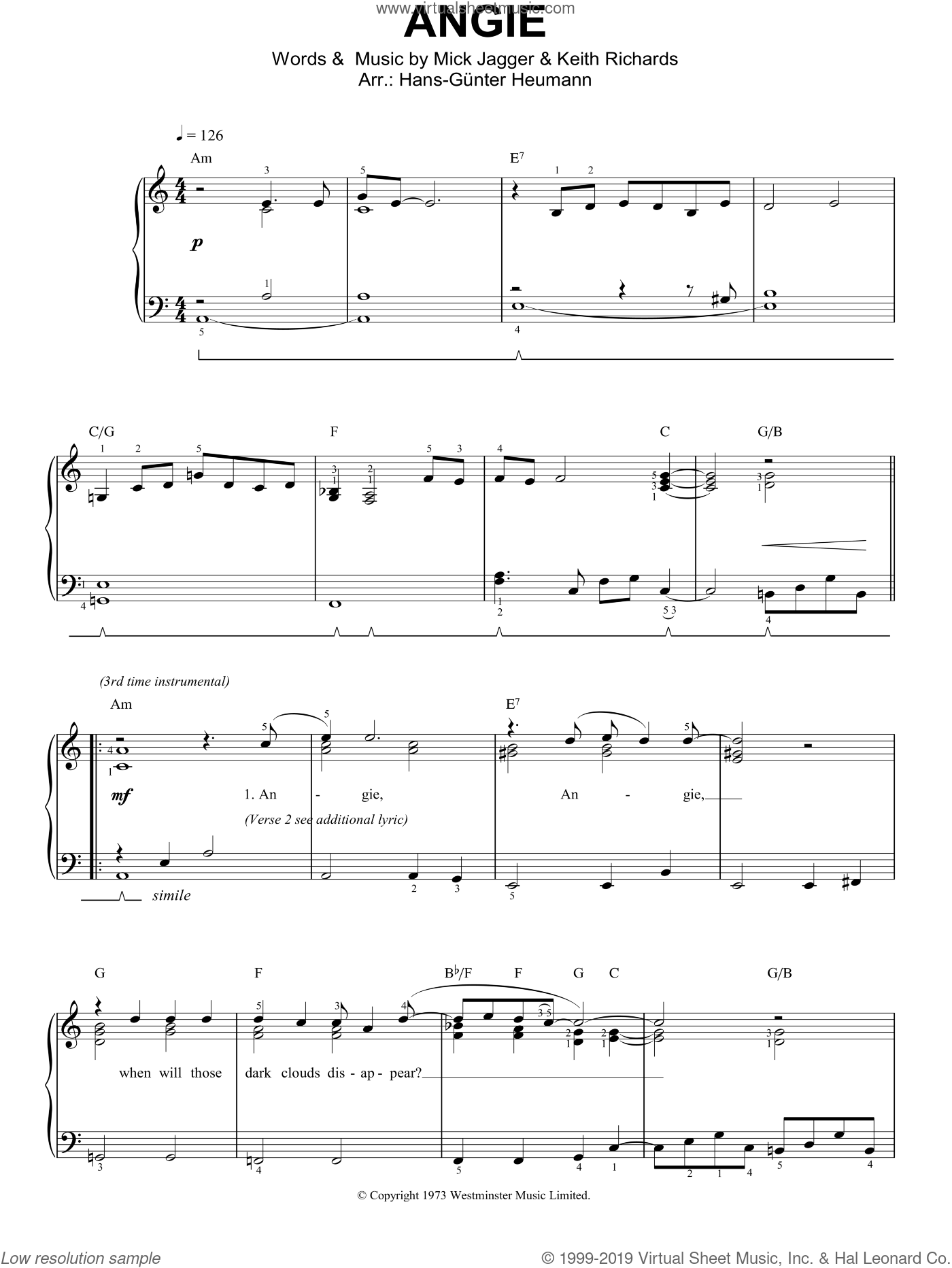 Angie, (easy) sheet music for piano solo by The Rolling Stones, Keith Richards and Mick Jagger, easy skill level