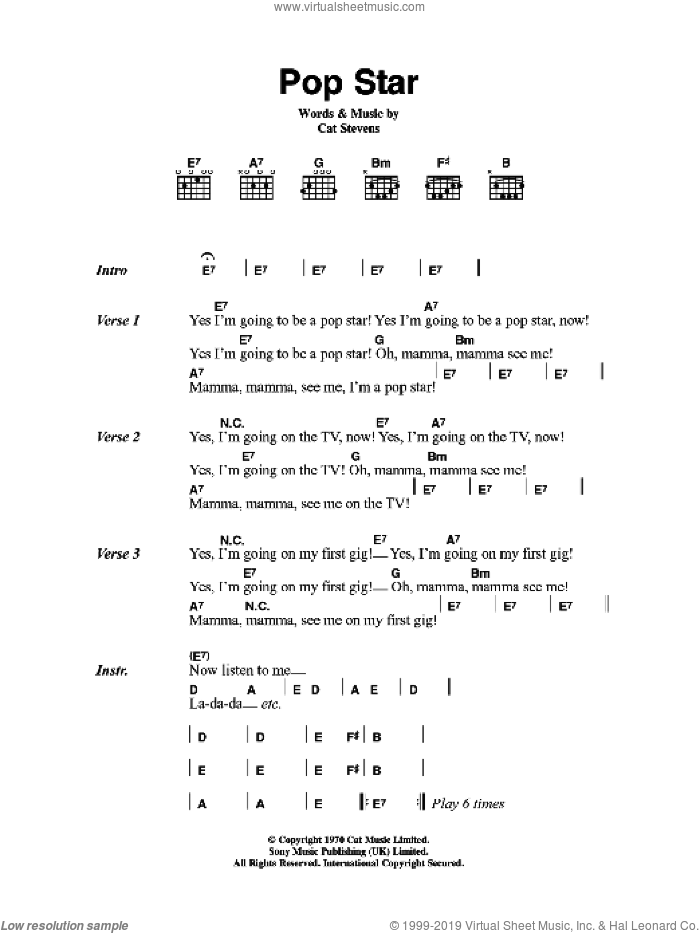 Pop Star sheet music for guitar (chords, lyrics, melody) by Cat Stevens