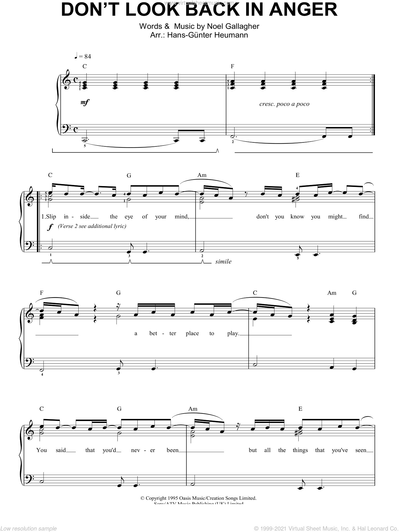 Don't Look Back In Anger sheet music for piano solo by Noel Gallagher and Oasis. Score Image Preview.