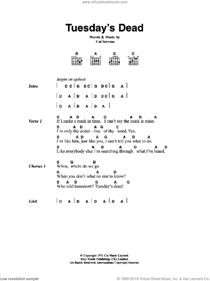Tuesday's Dead sheet music for guitar (chords) by Cat Stevens, intermediate. Score Image Preview.