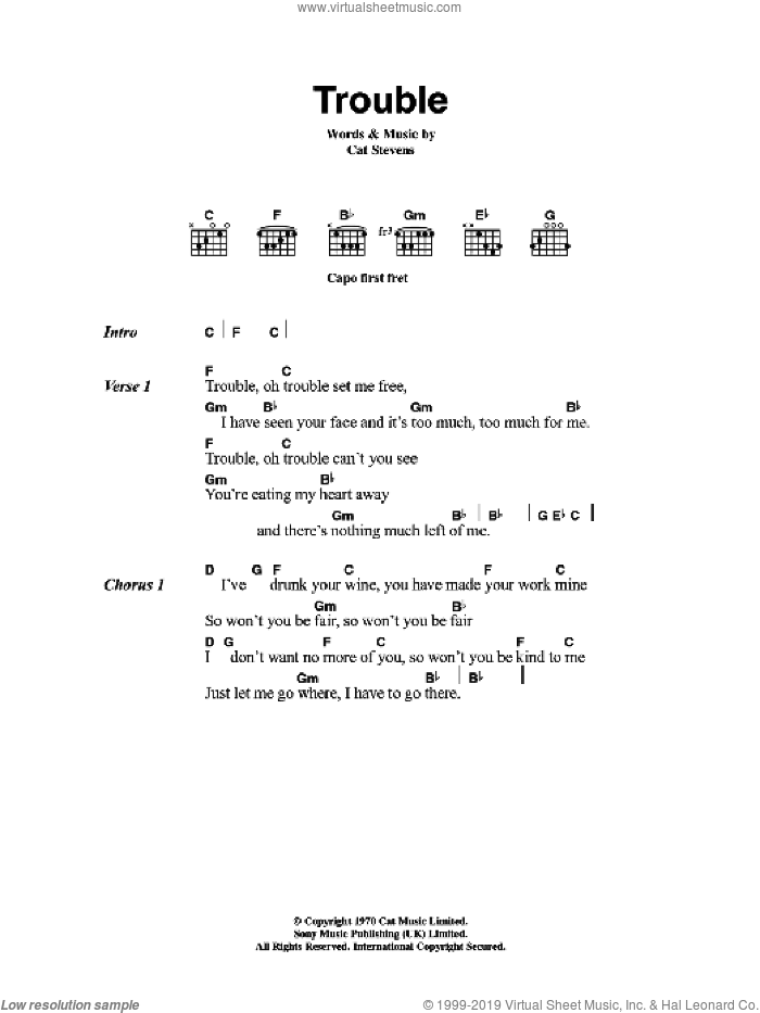 Trouble sheet music for guitar (chords) by Cat Stevens, intermediate. Score Image Preview.