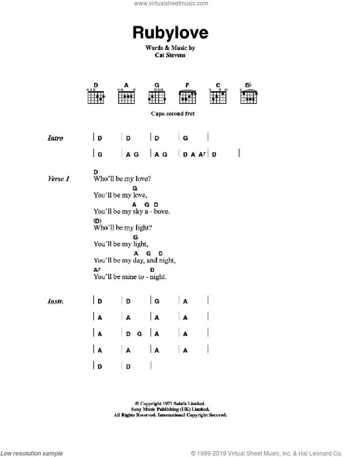 Rubylove sheet music for guitar (chords) by Cat Stevens