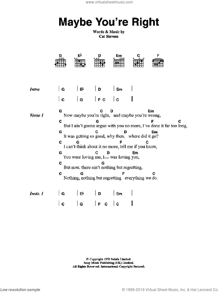 Maybe You're Right sheet music for guitar (chords) by Cat Stevens. Score Image Preview.