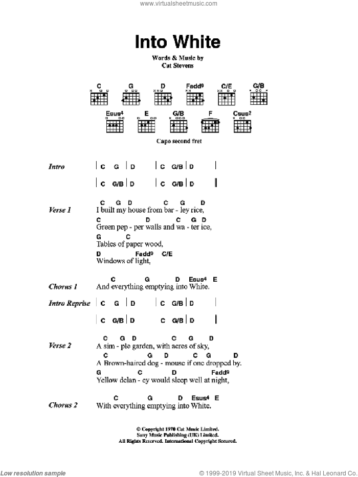 Into White sheet music for guitar (chords) by Cat Stevens