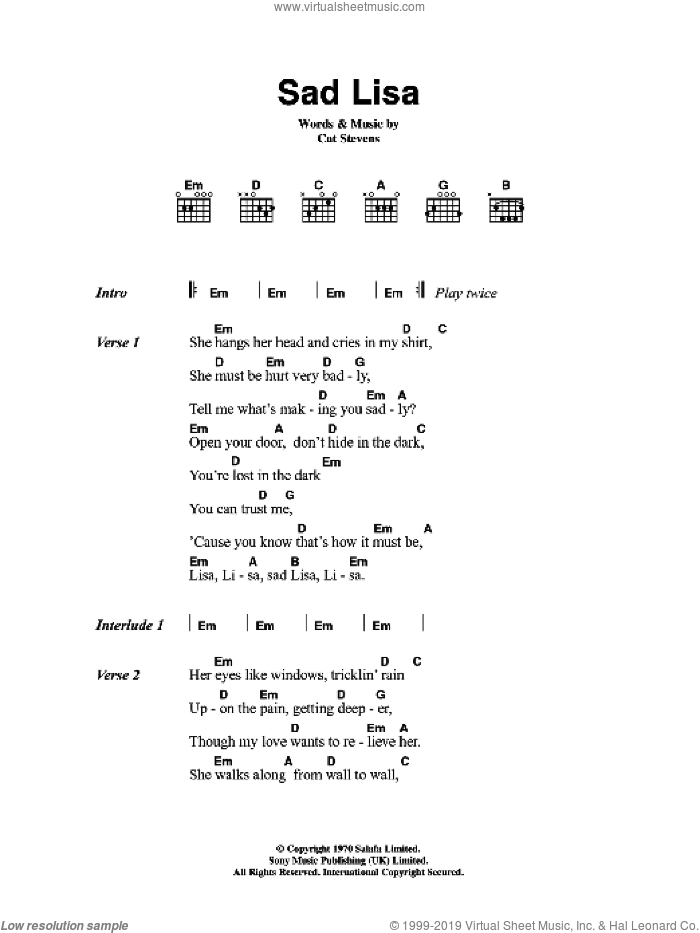 Sad Lisa sheet music for guitar (chords) by Cat Stevens. Score Image Preview.