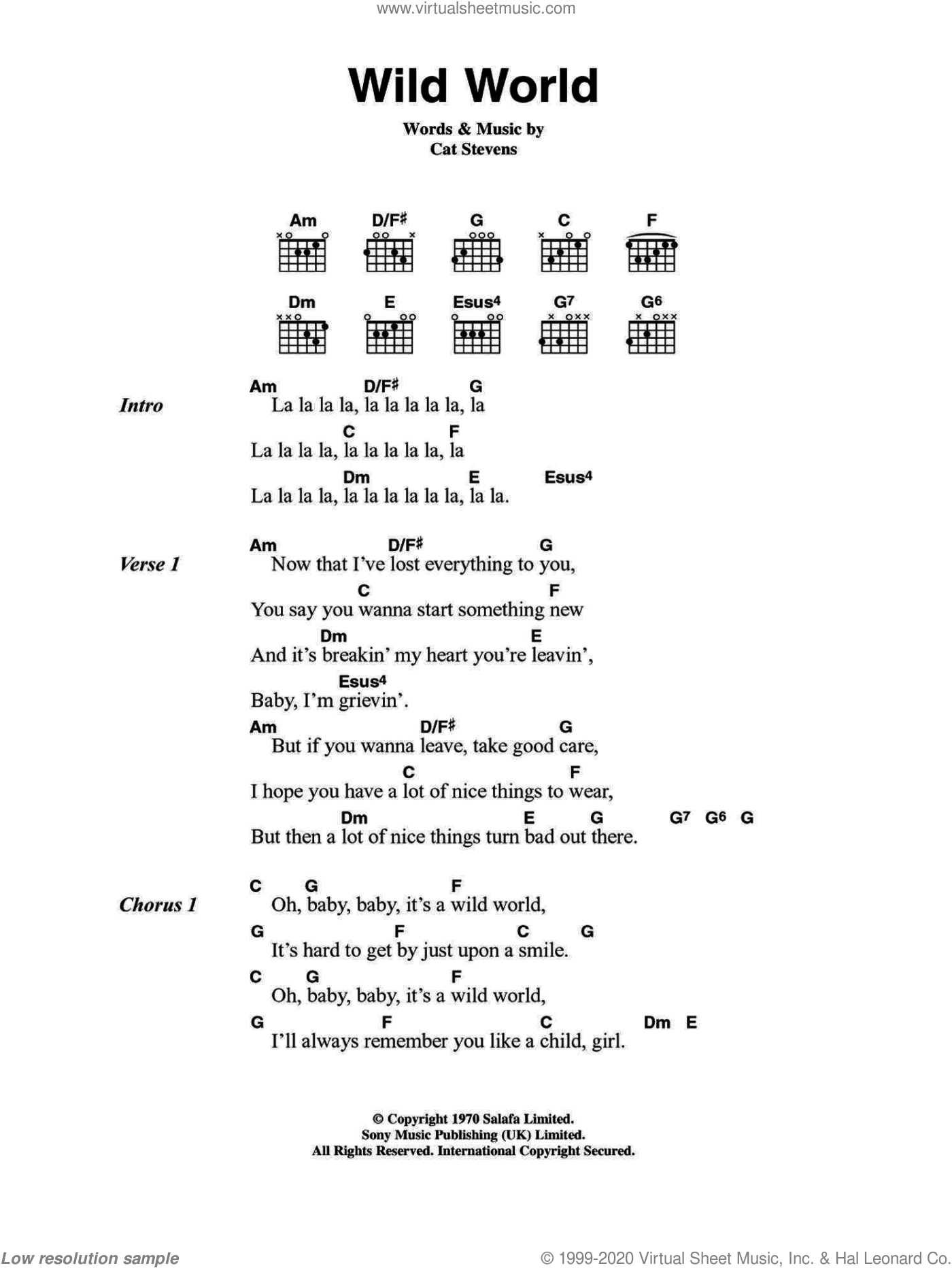 Wild World sheet music for guitar (chords) by Cat Stevens and Maxi Priest. Score Image Preview.