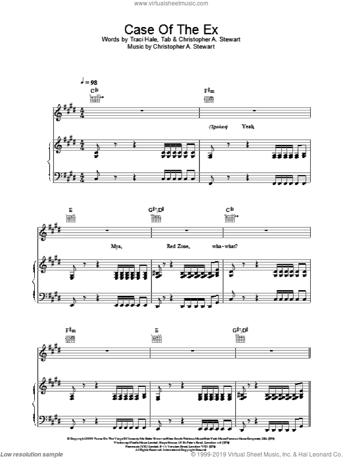 Case Of The Ex sheet music for voice, piano or guitar by Mya. Score Image Preview.