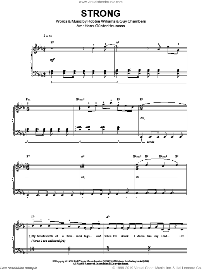 Strong sheet music for piano solo by Robbie Williams and Guy Chambers, easy skill level