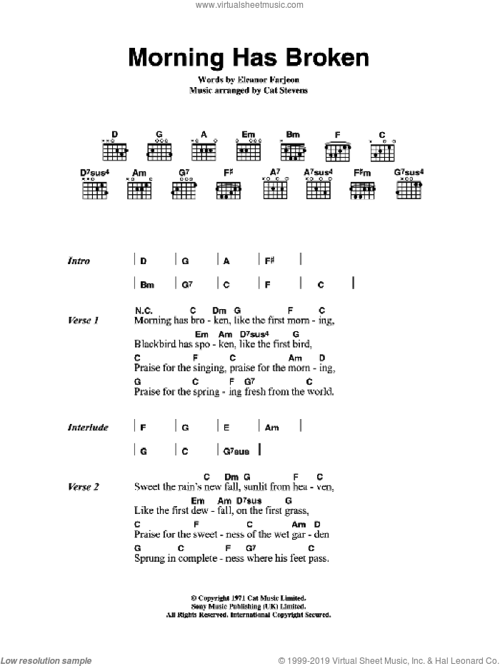 Morning Has Broken sheet music for guitar (chords) by Eleanor Farjeon