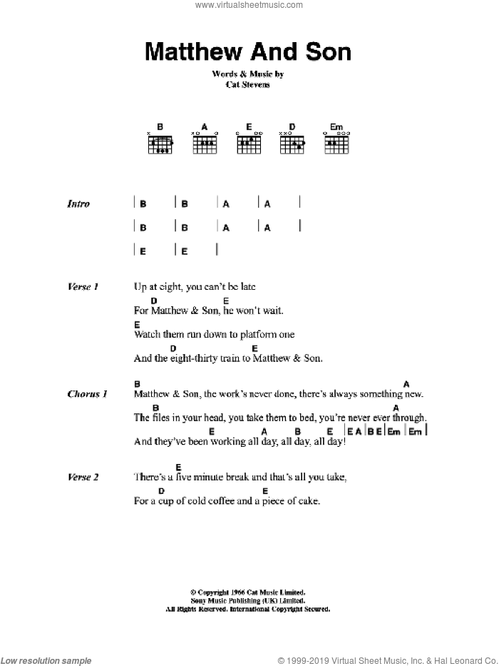 Matthew And Son sheet music for guitar (chords) by Cat Stevens, intermediate skill level