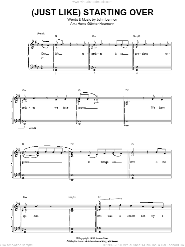 (Just Like) Starting Over sheet music for piano solo by John Lennon. Score Image Preview.