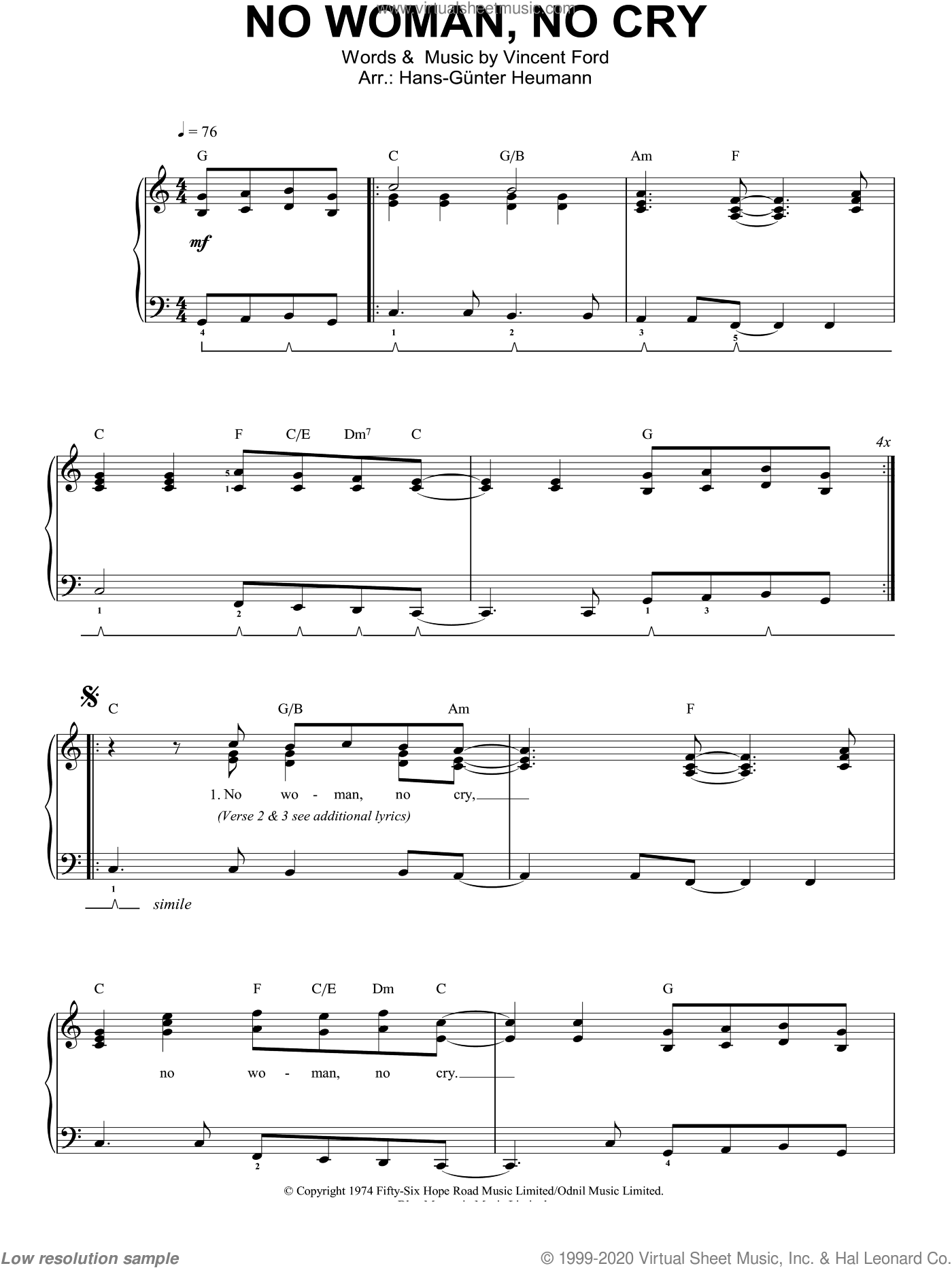 No Woman, No Cry sheet music for piano solo by Bob Marley and Vincent Ford, easy skill level