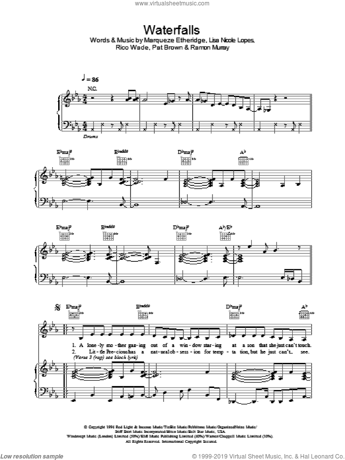 Waterfalls sheet music for voice, piano or guitar by Marqueze Etheridge. Score Image Preview.