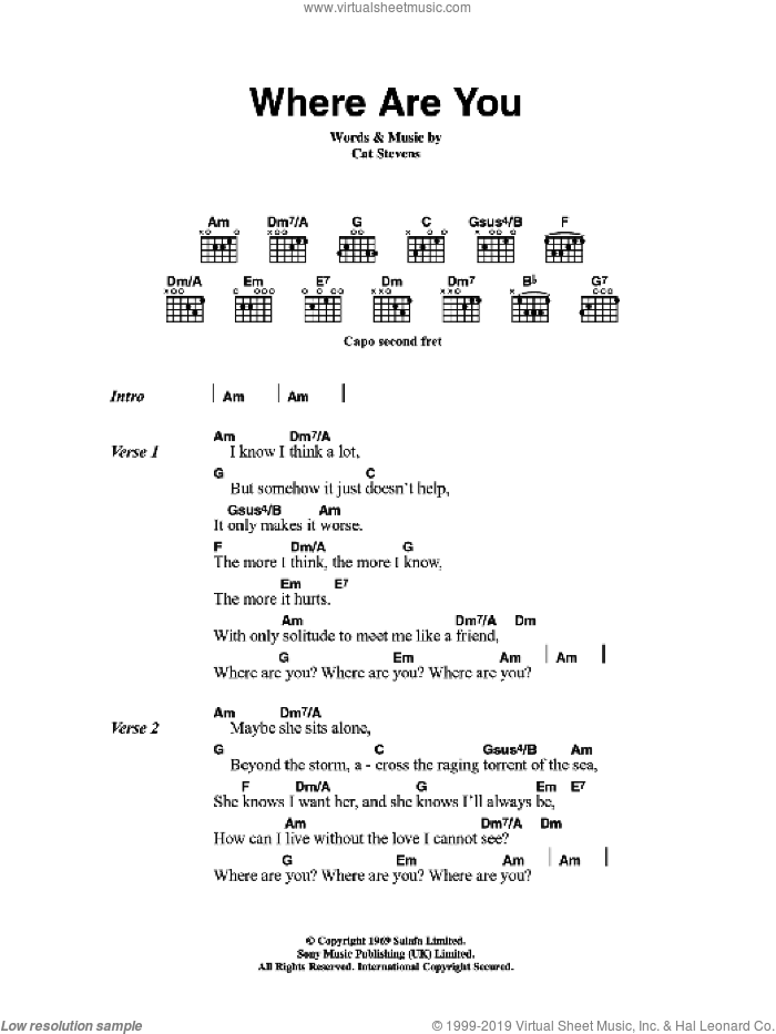 Where Are You? sheet music for guitar (chords) by Cat Stevens, intermediate. Score Image Preview.