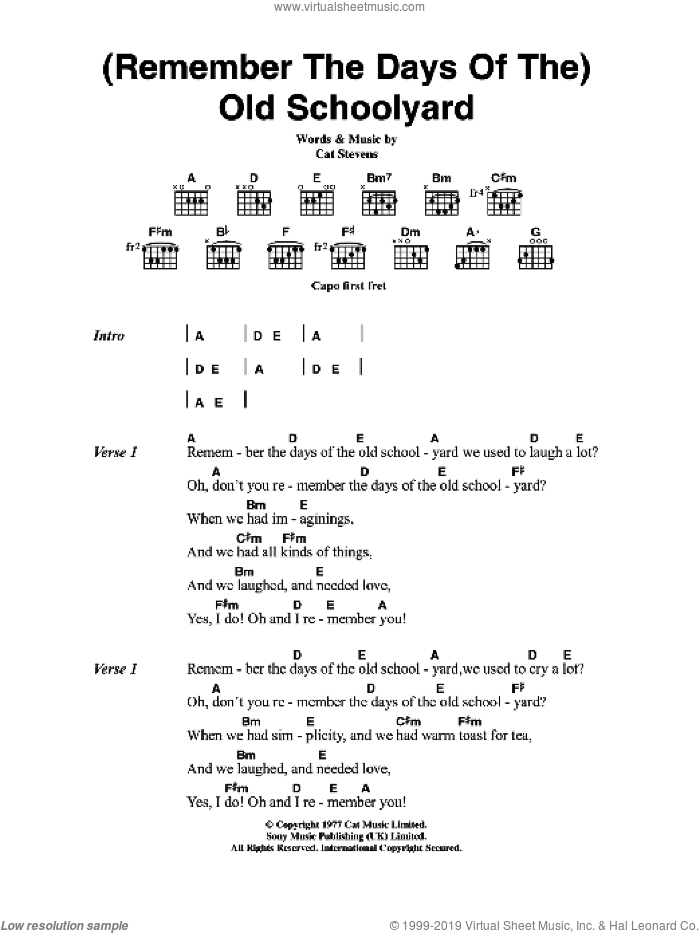 (Remember The Days Of The) Old Schoolyard sheet music for guitar (chords, lyrics, melody) by Cat Stevens