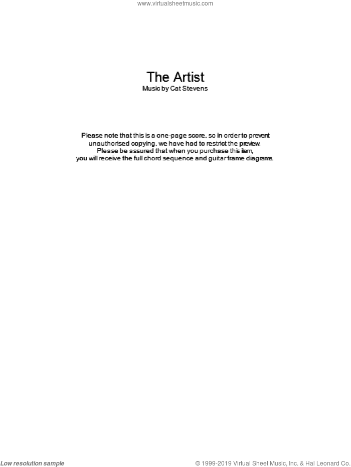 The Artist sheet music for guitar (chords, lyrics, melody) by Cat Stevens