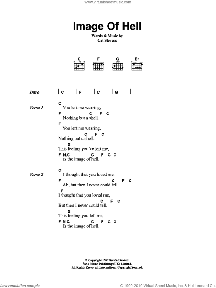 Image Of Hell sheet music for guitar (chords) by Cat Stevens. Score Image Preview.