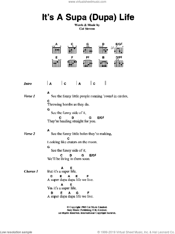 It's A Supa (Dupa) Life sheet music for guitar (chords) by Cat Stevens