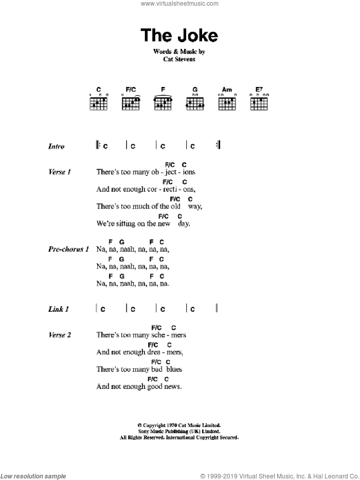 The Joke sheet music for guitar (chords) by Cat Stevens. Score Image Preview.