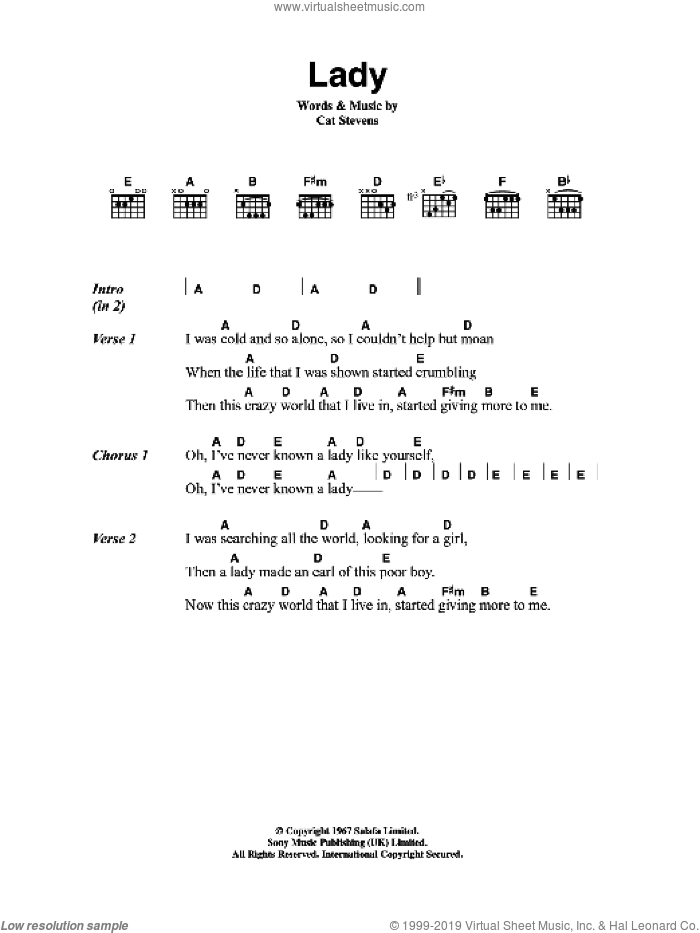 Lady sheet music for guitar (chords) by Cat Stevens, intermediate guitar (chords). Score Image Preview.