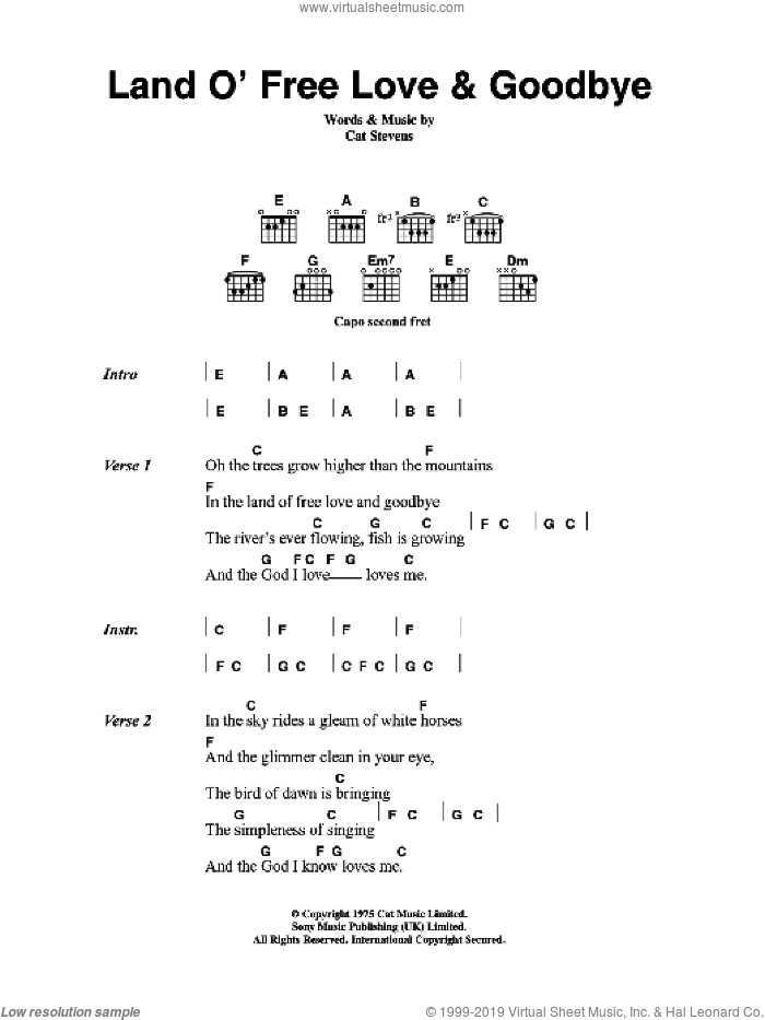 Land O' Free Love and Goodbye sheet music for guitar (chords) by Cat Stevens