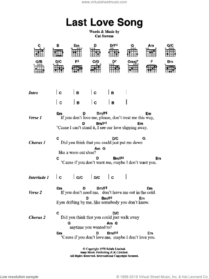 Last Love Song sheet music for guitar (chords) by Cat Stevens. Score Image Preview.