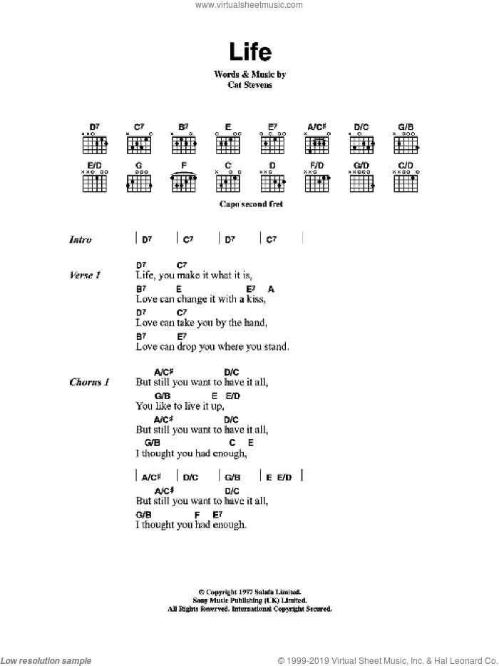 Life sheet music for guitar (chords) by Cat Stevens. Score Image Preview.