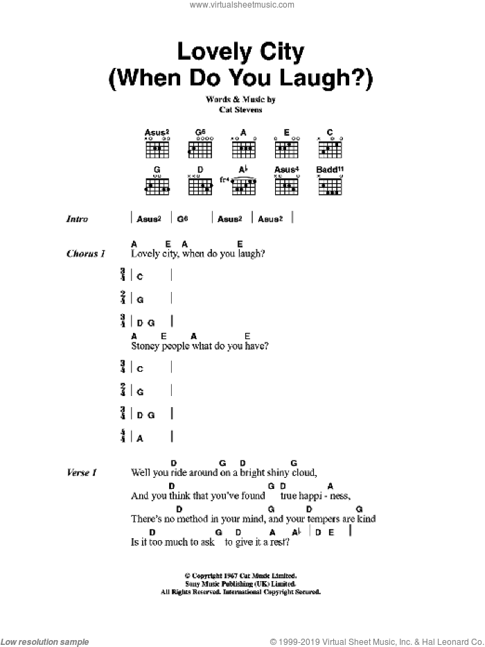 Lovely City (When Do You Laugh?) sheet music for guitar (chords) by Cat Stevens